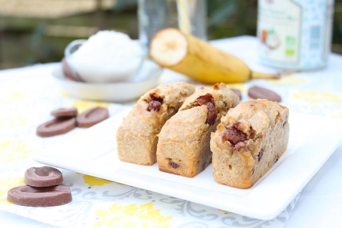 Gâteaux banane noix de coco chocolat lait sans oeuf