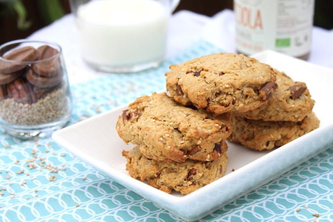 Cookies noix de pécan chocolat lait purée de noisette