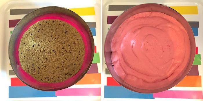 etremet à la framboise crémeux chocolat blanc biscuit madeleine thé matcha