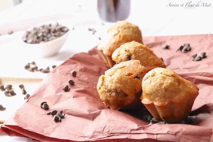 Gâteaux à la banane noix de coco et pépites de chocolat