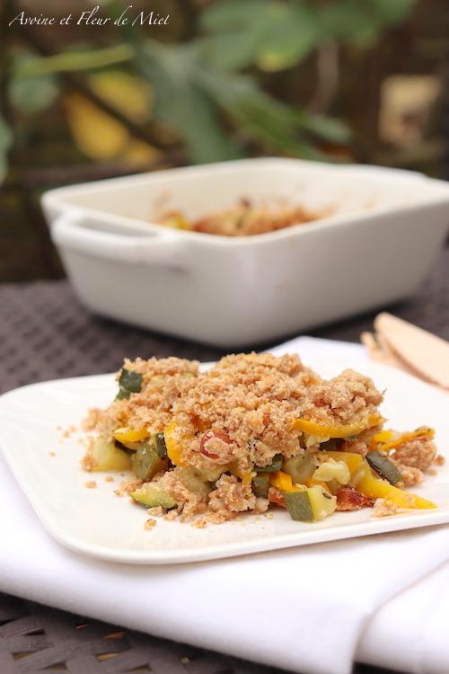Crumble aux courgettes et poivron