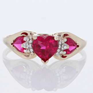 Triple Syn Ruby Heart Ring