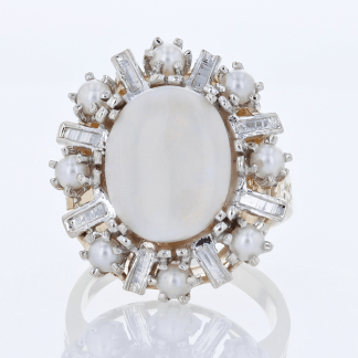 14 Karat Opal & Pearl Ring