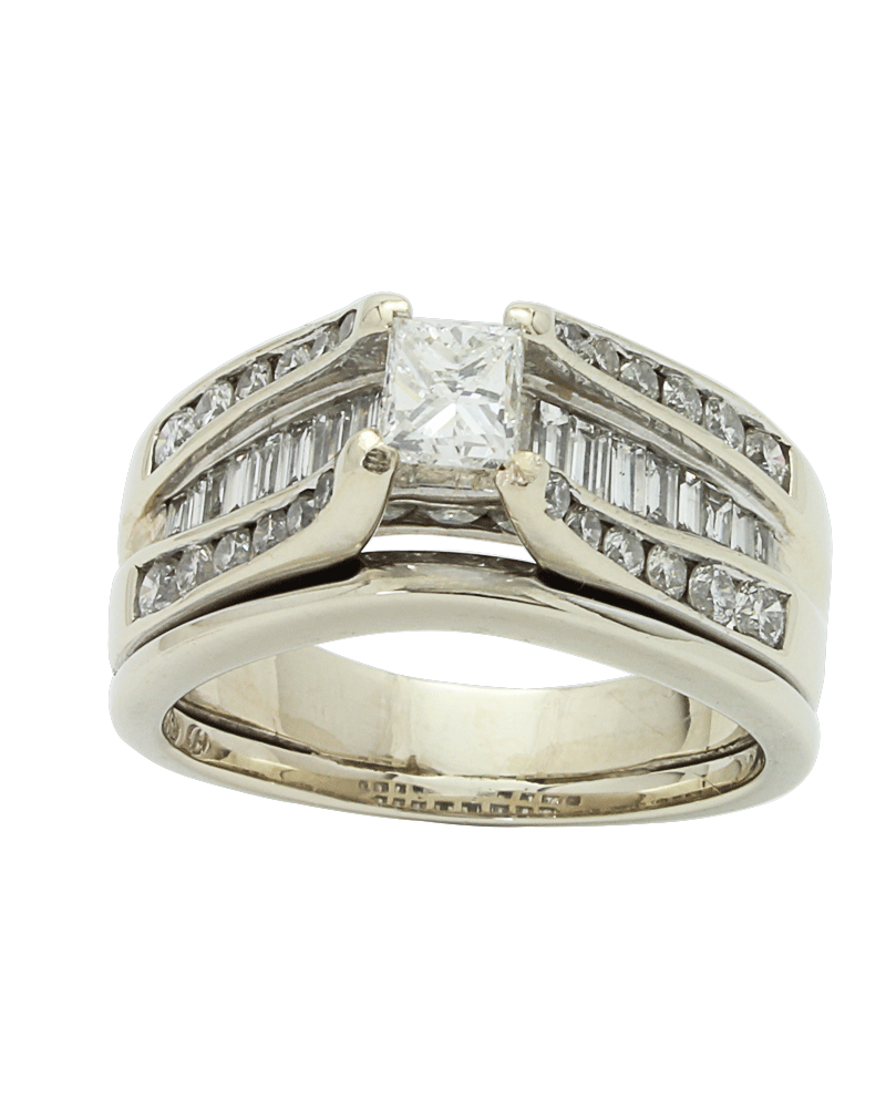 2.82ctw Princess Cut Engagement Ring