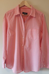 coral coloured gigham shirt