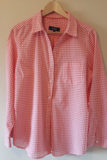 coral coloured gigham shirt