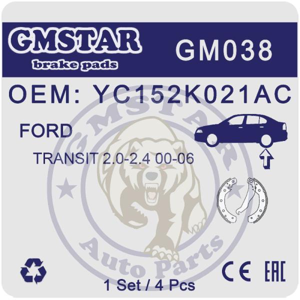 Колодки торм. диск. перед. для а/м Ford Transit 2.0-2.4 00-06 GM038