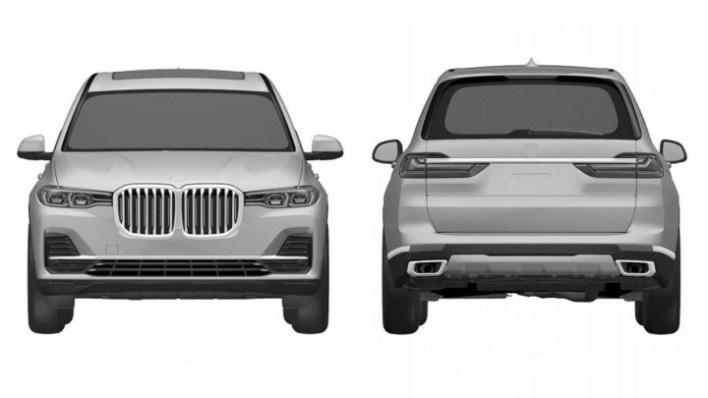 Фото кроссовера BMW X7 - вид спереди и сзади.