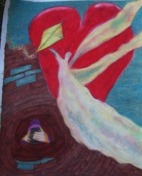 """NIEUW WERK: Titel """"Love Through Wind"""". Thema: Niet durven ontvangen. Closure: 14 December 2014. Tijd 15:59 uur. Oliepastelkrijt. Formaat 50×65 CM. © In copyright of Madeleine Oppelaar. Gelieve het werk niet kopiëren zonder het schriftelijk woord van de maakster. Dank. Met beeldende groet, Madeleine"""