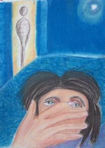 - Werkje 1 - Titel: Afscheid Thema: Woorden gezegd en geschreven hebben die je liever niet gezegd hebt. Een afscheid, die je nooit gewild hebt, die nog altijd voelbaar is en tussen beide hangt… Datum: 17 -7 – 13 (Closure 19:00 uur) Pastelkrijt 54 x 36 cm (c) Madeleine Oppelaar