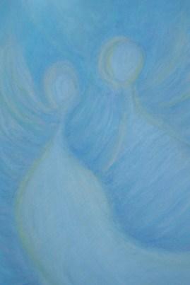 Titel: 'Body of Light'. Datum 6 Juni 2013. Oliepastel. 56 X 34. Thema: Tweelingzielen, zielliefde. Gemaakt door Madeleine Oppelaar. Gelieve niet kopieren zonder schrftelijke toestemming. Dank