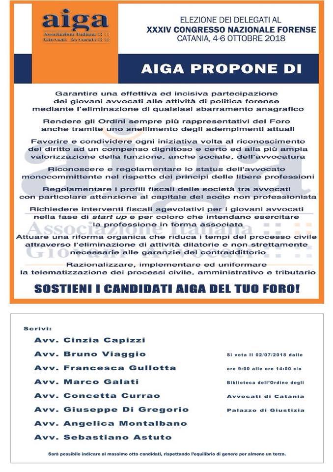 XXXIV Congresso Nazionale Forense: candidati AIGA Catania