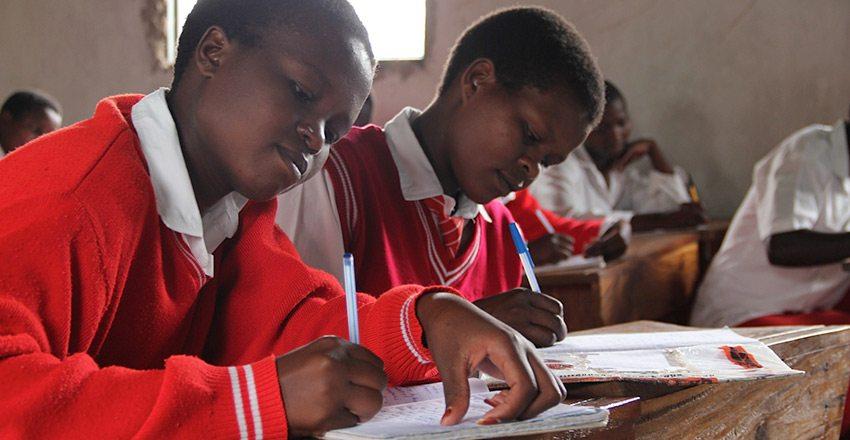 Two students in Uganda School