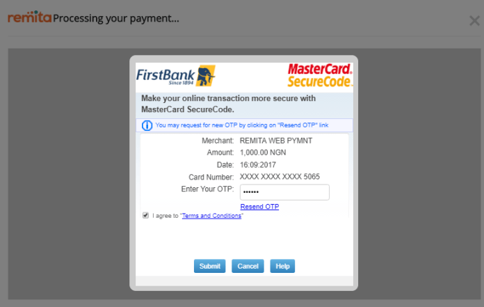 payment processing page