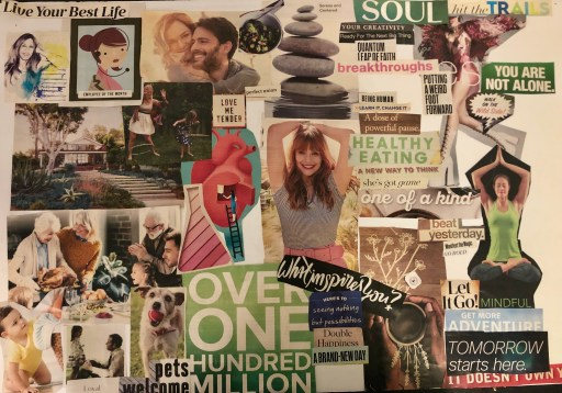 Picture of my vision board, displaying all of the materials you need for a vision board.