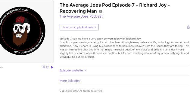 Listen: Recovering Man Features on Average Joes Podcast