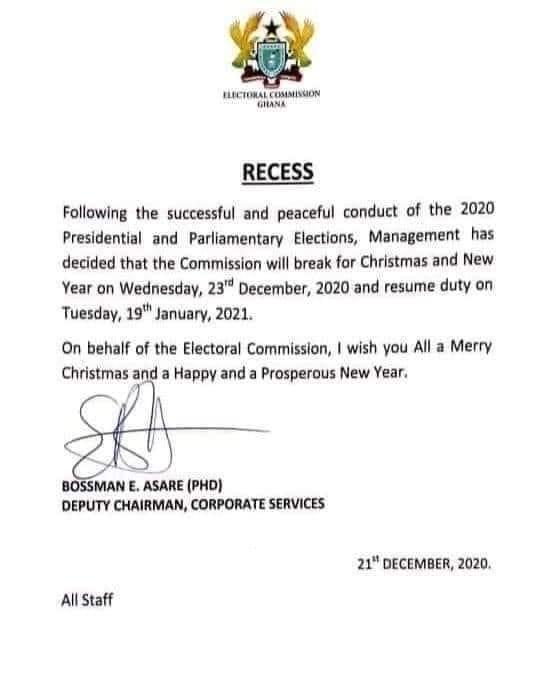 EC notice for vacation