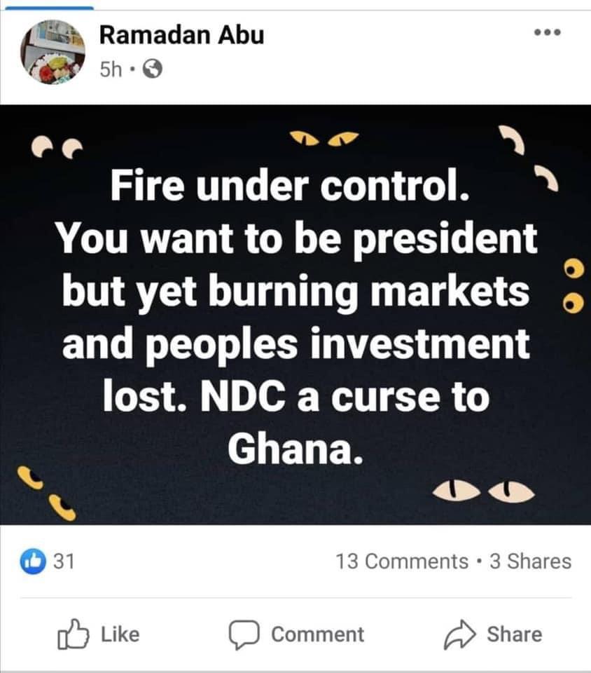 abu ramadan comment on keneshie market fire