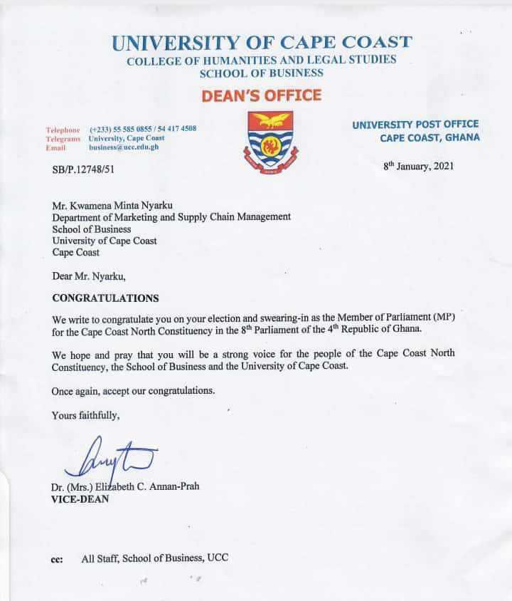UCC Business School letter on Dr. Nyarku