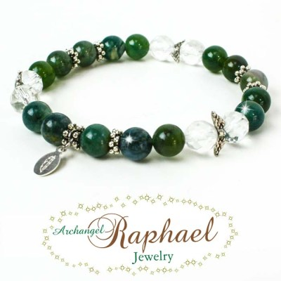 Our AA Raphael Jewelry is made of Moss Agate & Crystal Quartz whose properties bring healing.