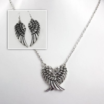 Winged Blessings Necklace & Earrings Set