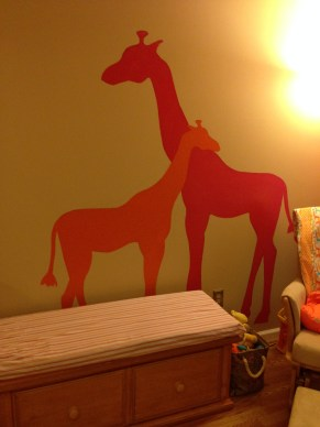 Pink and Orange giraffes come to life.