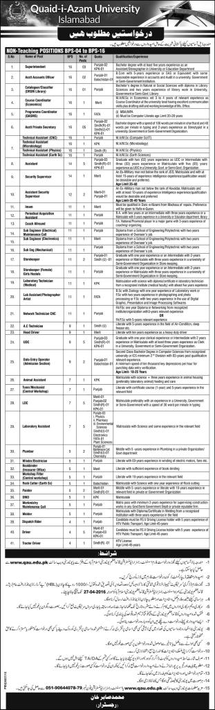 Jobs in Quaid Azam University