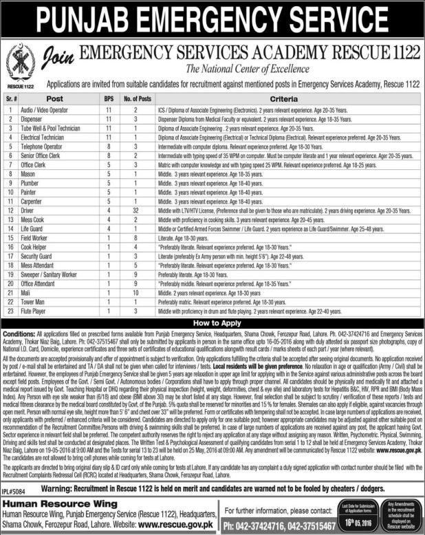 Jobs in Emergency Services Academy May 2016