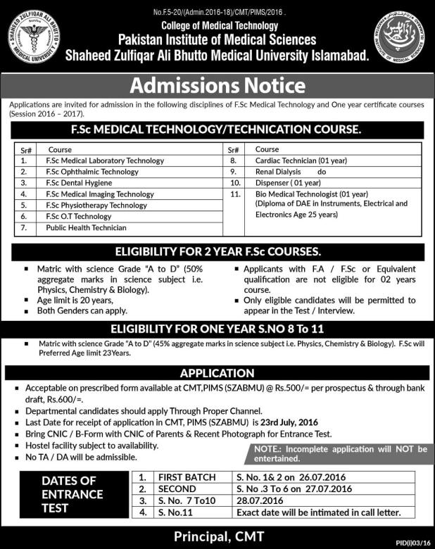 Admission in Shaheed Zulfiqar Ali Bhutto Medical University Islamabad