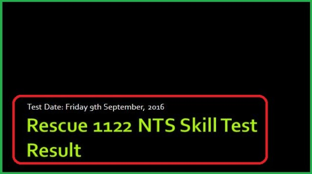 Rescue 1122 NTS Recruitment Skill Test Result