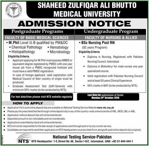 Shaheed Zulfiqar Ali Bhutto Medical University NTS Admission Testac