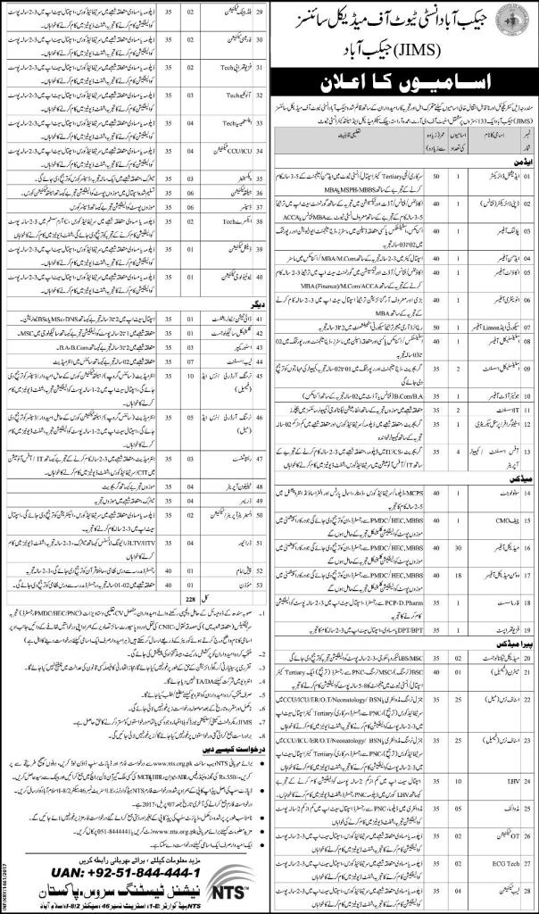 Jacobabad Institute of Medical Sciences JIMS Jobs
