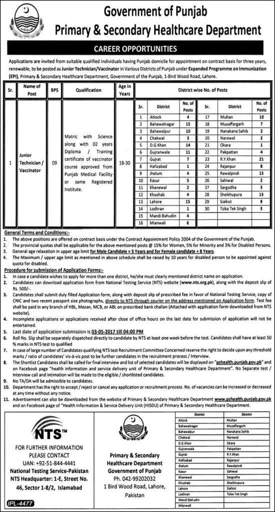 NTS Primary Health Vacinator Jobs