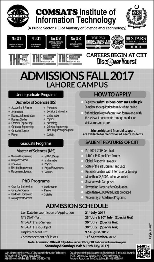 CIIT Undergraduate Program ,Graduate Program & PHD Programs Admission Fall 2017