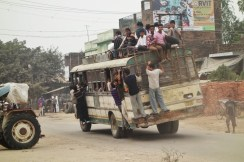 A typical Indian bus, 2013.