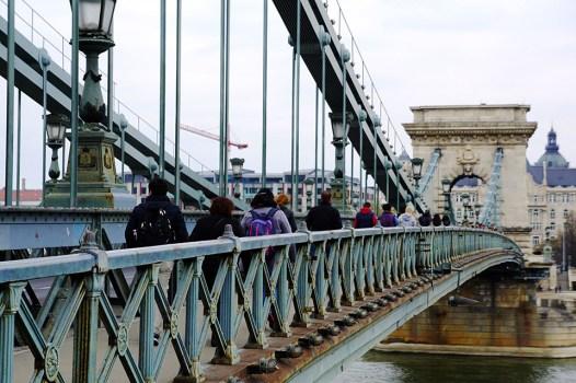 Crossing the Chain Bridge, Budapest