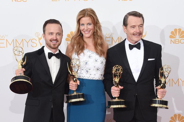 Aaron Paul, Anna Gunn and Bryan Cranston were all repeat winners at last night's Emmy Awards (photo credit: Jason Merritt/Getty Images)