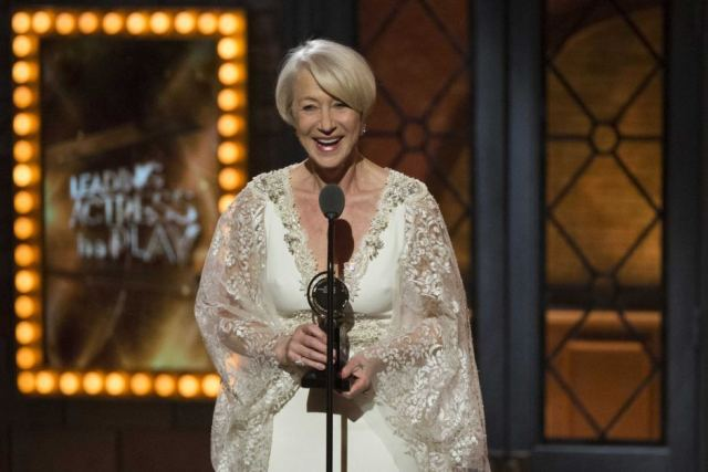 Helen Mirren accepts her first Tony Award, for Best Performance By an Actress in a Leading Role in a Play for The Audience.