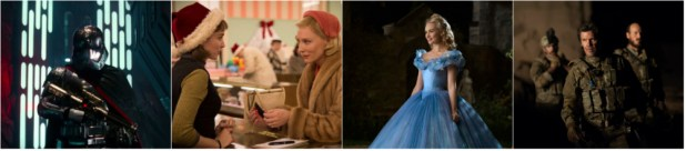 From left; Star Wars: The Force Awakens, Carol, Cinderella, Sicario