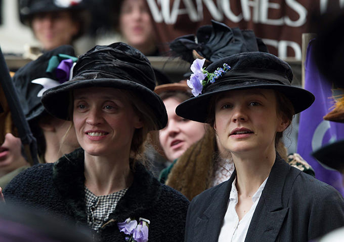 From left; Anne-Marie Duff and Carey Mulligan Score in 'Suffragette'