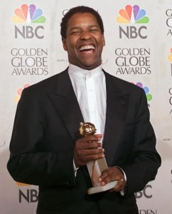 Denzel Washington, with his Golden Globe for The Hurricane (1999)