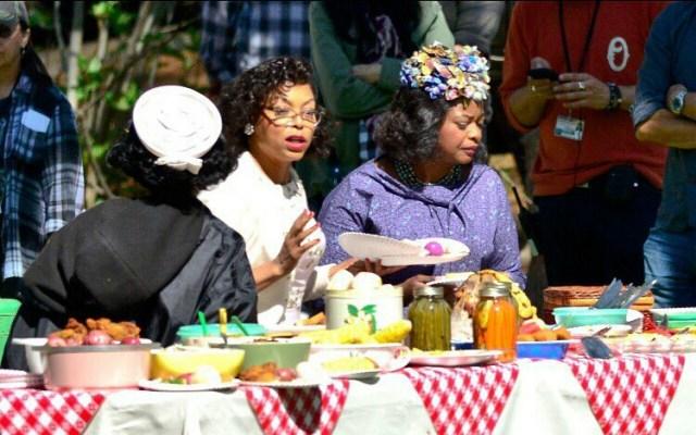 From left; Janelle Monáe, Taraji P. Henson and Octavia Spencer on the set of 'Hidden Figures'