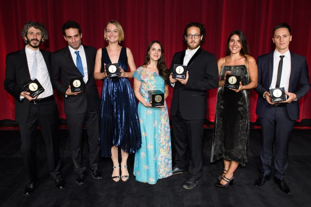 The Academy of Motion Picture Arts and Sciences presented its 43rd Annual Student Academy Awards® on Thursday, September 22, in Beverly Hills. Pictured (left to right): gold medal winners Ahmad Saleh, Jimmy Keyrouz, Alicja Jasina, Maya Sarfaty, David Henry Gerson, Daphne Matziaraki and Alex Schaad.