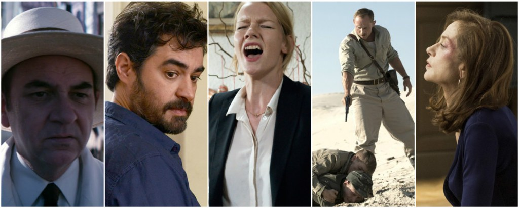 From left; Neruda (Chile), The Salesman (Iran), Toni Erdmann (Germany), Land of Mine (Denmark) and Elle (France)