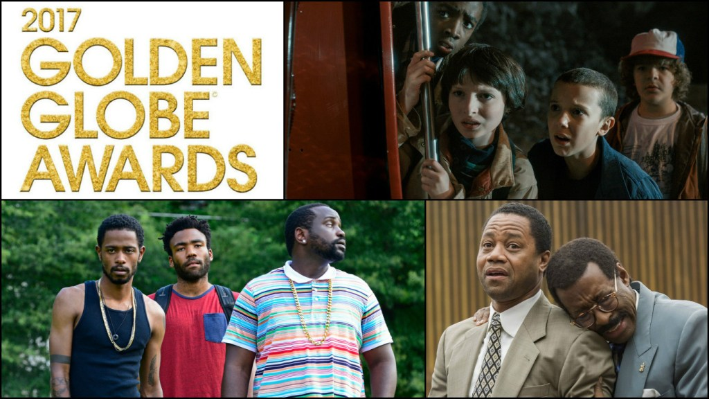 New shows look to reign once again at the Golden Globe Awards. (from top; Stranger Things, Atlanta, The People v O.J.: Simpson: American Crime Story)