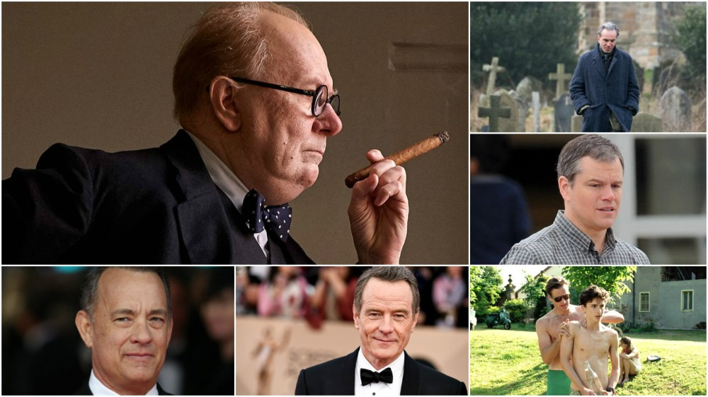 Gary Oldman leads the Best Actor race with Daniel Day-Lewis, Matt Damon, Timothée Chalamet, Bryan Cranston and Tom Hanks along for the ride