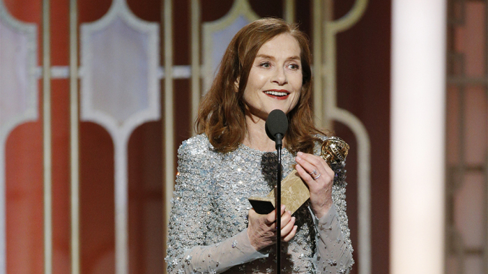 74th ANNUAL GOLDEN GLOBE AWARDS -- Pictured: Isabelle Huppert, Winner, Best Actress in a Motion Picture - Drama, at the 74th Annual Golden Globe Awards held at the Beverly Hilton Hotel on January 8, 2017 -- (Photo by: Paul Drinkwater/NBC)