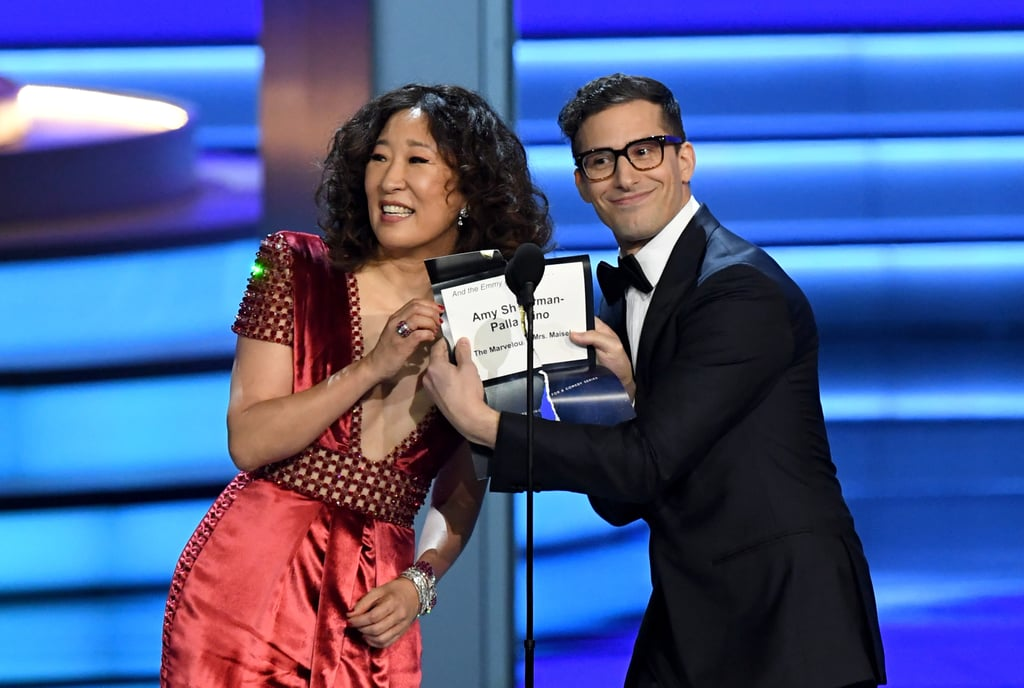 Sandra Oh and Andy Samberg at the 2018 Emmy Awards