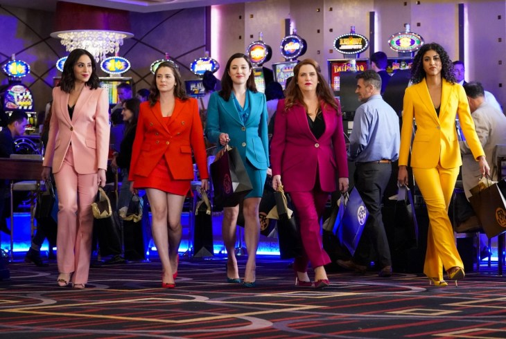 """Crazy Ex-Girlfriend -- """"I Need To Find My Frenemy"""" -- Image Number: CEG415b_0477.jpg -- Pictured (L-R): Gabrielle Ruiz as Valencia, Rachel Bloom as Rebecca, Rachel Grate as Audra Levine, Donna Lynne Champlin as Paula and Vella Lovell as Heather -- Photo: Greg Gayne/The CW -- © 2019 The CW Network, LLC. All Rights Reserved."""