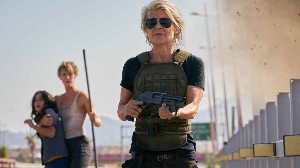 "L-r, Natalia Reyes, Mackenzie Davis and Linda Hamilton star in Skydance Productions and Paramount Pictures' ""TERMINATOR: DARK FATE."""